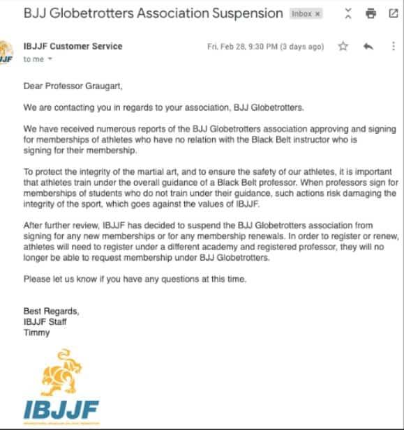 IBJJF Ban BJJ Globetrotters Letter | Jiu Jitsu Legacy