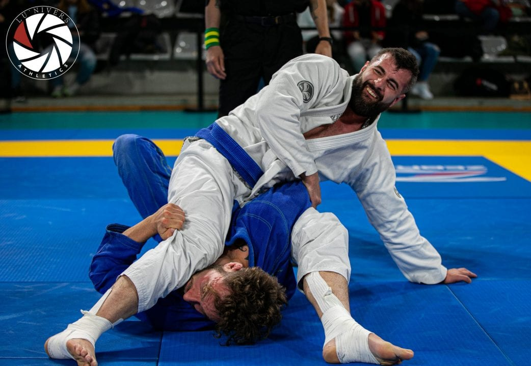 Blue belt on mount position