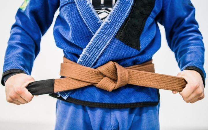 Man in gi and with bjj brown belt, everything you need to know about BJJ belt promotion | Jiu Jitsu Legacy
