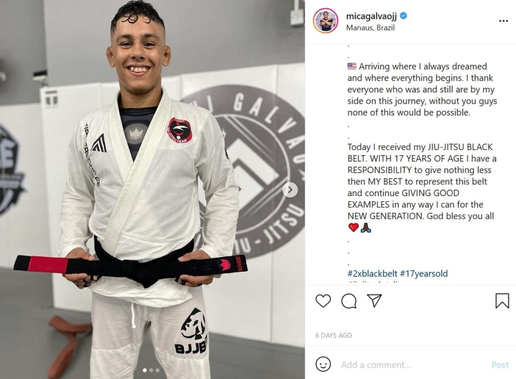 Mica Galvao Is BJJ's Youngest Black Belt, How Old Do You Need to Be to Get a Black Belt? 1 Mica Galvao Is BJJ's Youngest Black Belt, How Old Do You Need to Be to Get a Black Belt? Mica Galvao